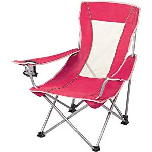 Ozark Trail Mesh Sling Chair in Pink, Durable Steel Frame and Metal Arms, Polyester Seat, Foldable Design for Easy Storage and Transport, Perfect for Camping and other Outdoor Activities