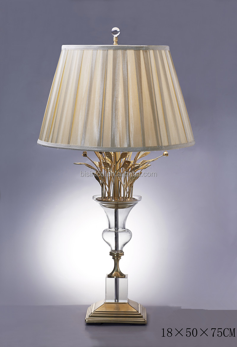 Fancy Table Lamp With Shade,Imitate Flower Vase Shape Crystal ...