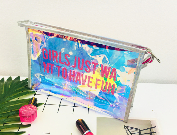 South Korean cute girl softhearted sister make-up bag portable large capacity contracted letters laser transparent wash gargle t