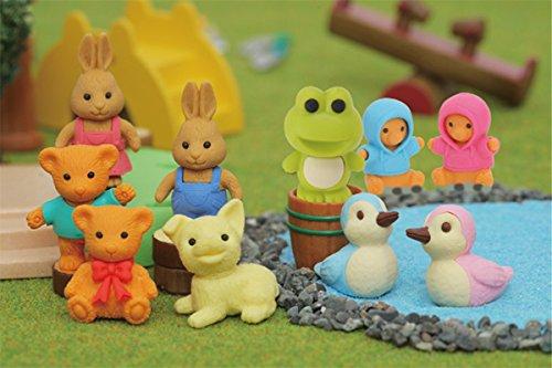 Iwako Cute Animals Japanese Erasers Set(10pieces)-Dog, Teddy Bear(green, red), Rabbit(blue, pink), Duck(pink, blue), Flog, Parka Bear(pink, blue)