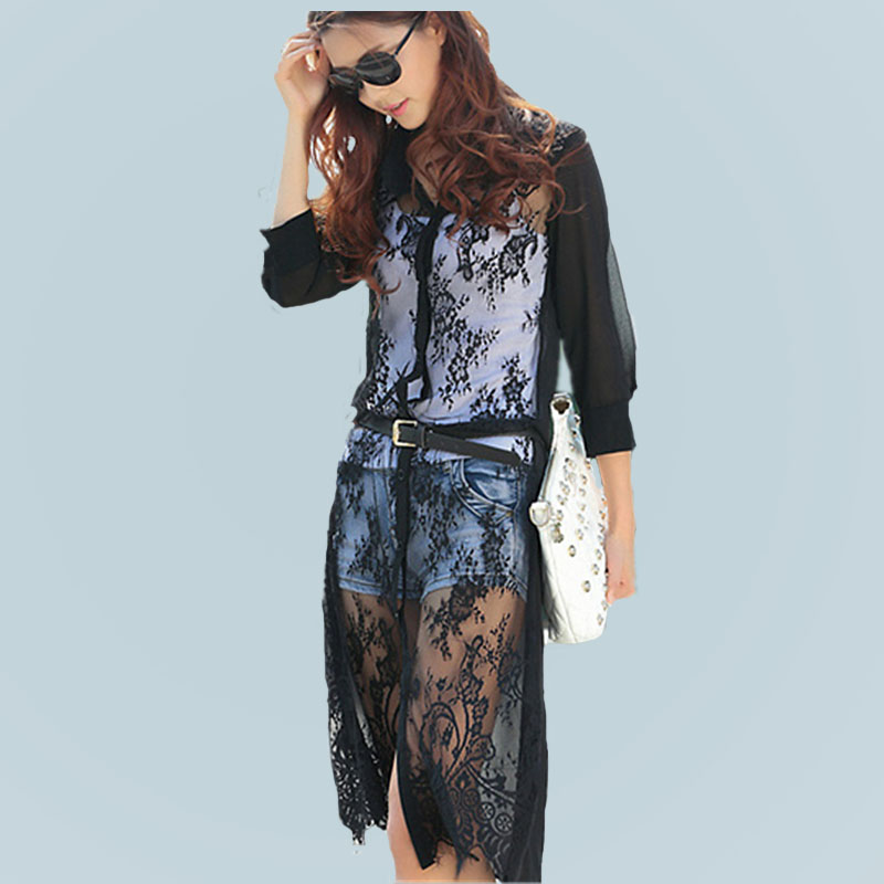 MOQ 1pc hot sale with chiffon and lace patchwork cardigan long lace t shirt,t shirt women