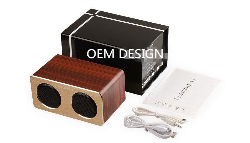 Simple dual speakers Wooden wireless Bluetooth speaker