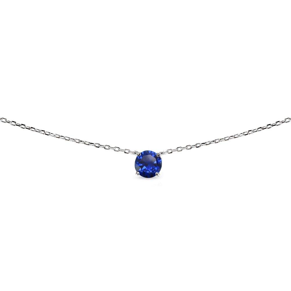 LOVVE Sterling Silver Round-cut Created Blue Sapphire Solitaire Choker Necklace for Teens or Women