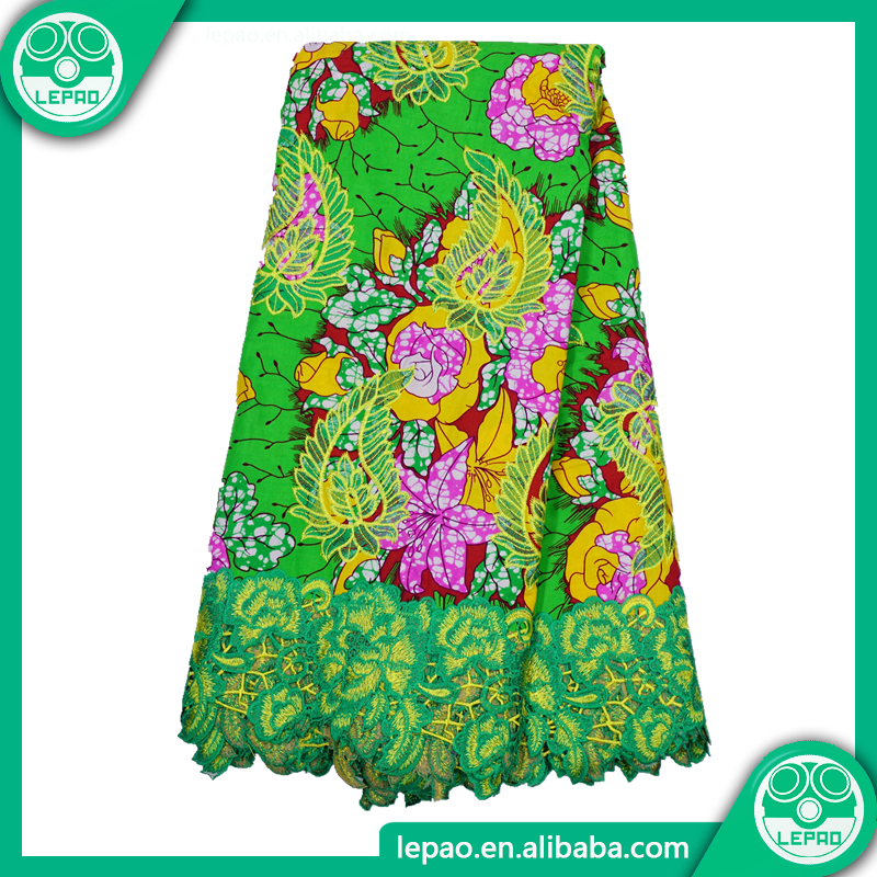 2018Good price lepao hitarget wax textile,super wax fabrics,wholesale ankara fabric with guipure