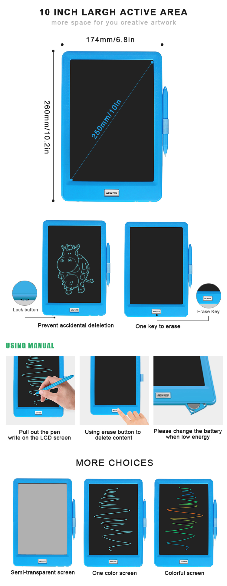 Best Gifts Newyes 10 inch Graphic Drawing Tableta LCD Writing Tablet