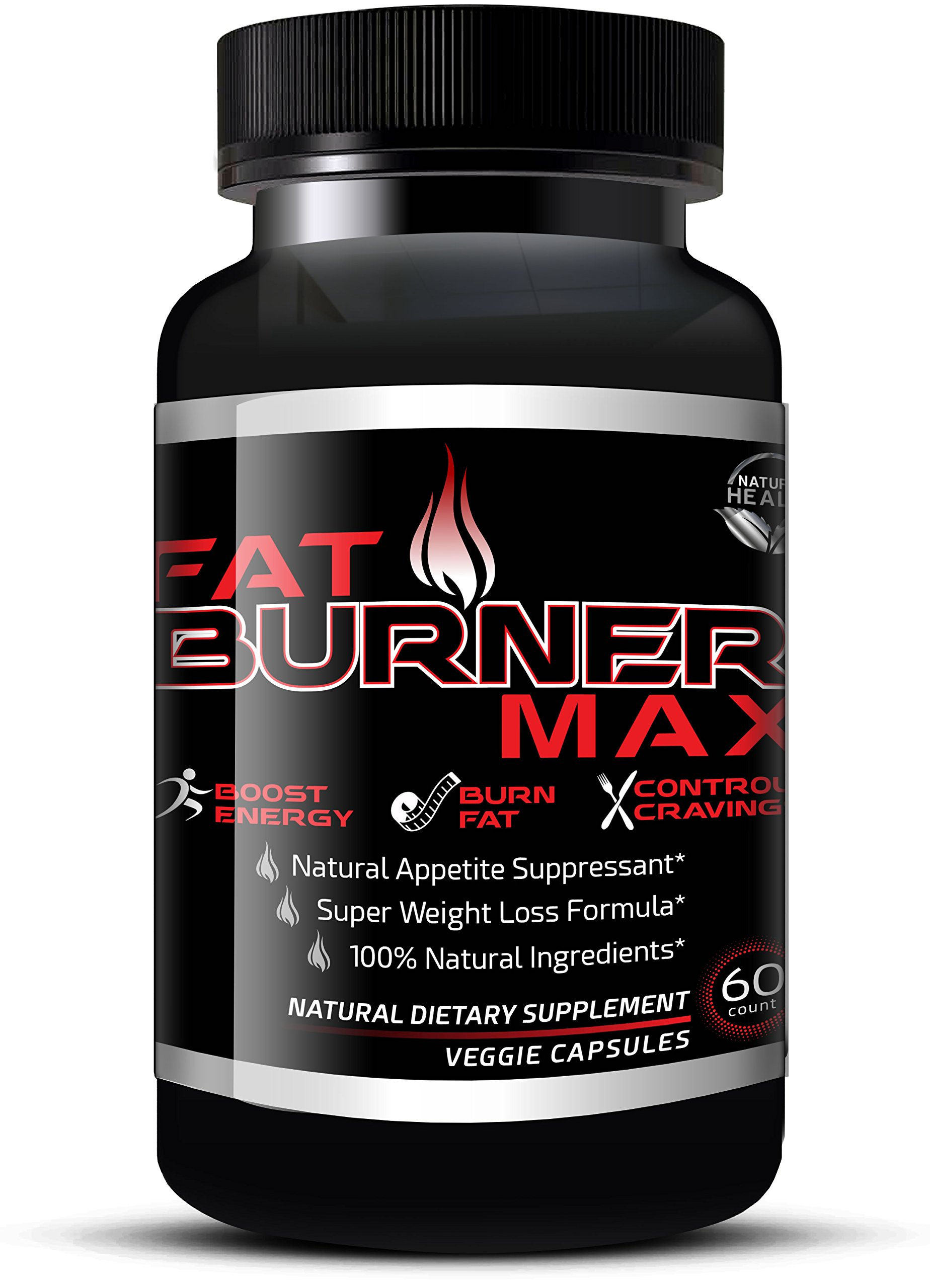 Fat Burner Max - Natural Appetite Suppressant & Muscle Preserving Diet Pills For Men & Women - Weight Loss Supplements That Work With Garcinia Cambogia, Glucomannan & Caralluma (60 Veggie Capsules)