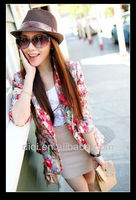 new design of fashion flower printing jacket for ladies in 2013