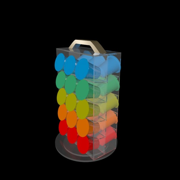 Wholesale Tabletop Spininng 6-side K-Cup Coffee Pod Rack Acrylic Rotating Coffee Capsule Holder With Top Logo Plate Supplier
