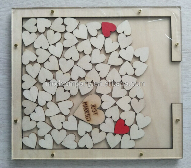 rustic wedding guest book drop with heart inserted