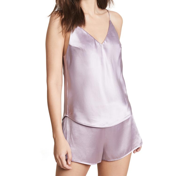 السيدات مثير ملابس النوم منامة الحرير الصانع 100% الحرير قصيرة منامة تعيين للنساء