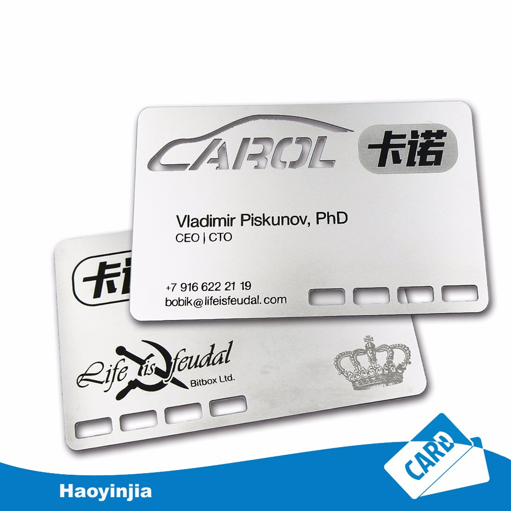 Wholesale laser cut engraved stainless steel metal card cheap metal business cards