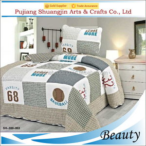 Ball sport style kids used 100% polyester brushed fabric patchwork baby bedding set four seasons