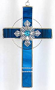 Stained Glass Filigree Cross - BLUE
