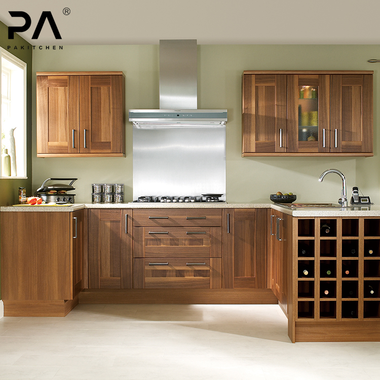 Custom U Shaped Teak Wood Kitchen Pantry Cupboards Wall Hanging Cabinet