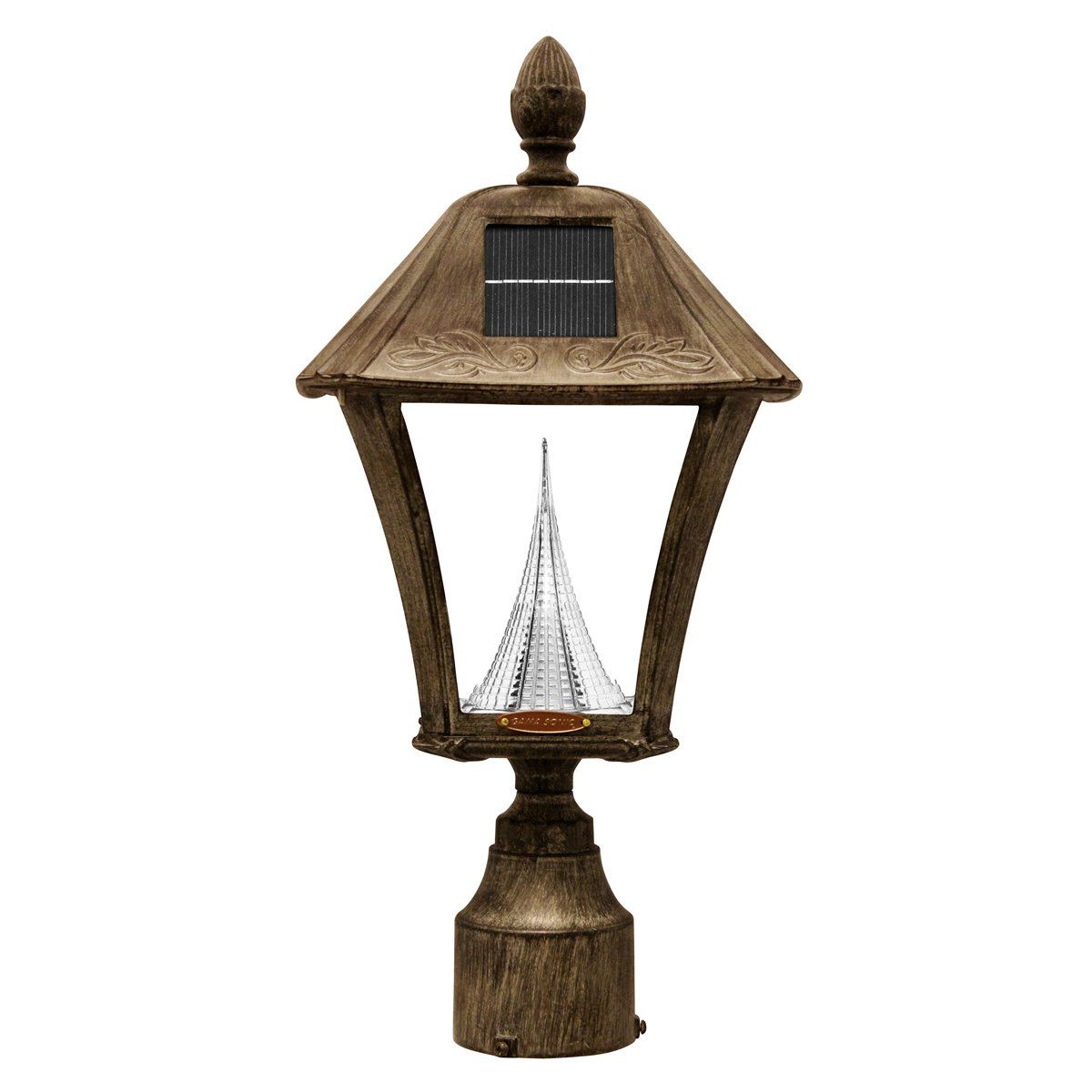 Gama Sonic Baytown Solar Outdoor LED Light Fixture, 3-Inch Fitter for Post Mount, Weathered Bronze Finish #GS-106F-WB