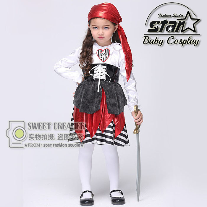 Halloween font b Children b font Kids Caribbean Pirate Costume font b Dress b font Hat
