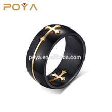 POYA Jewelry Stainless steel men's ring, cross ring, removable cross ring