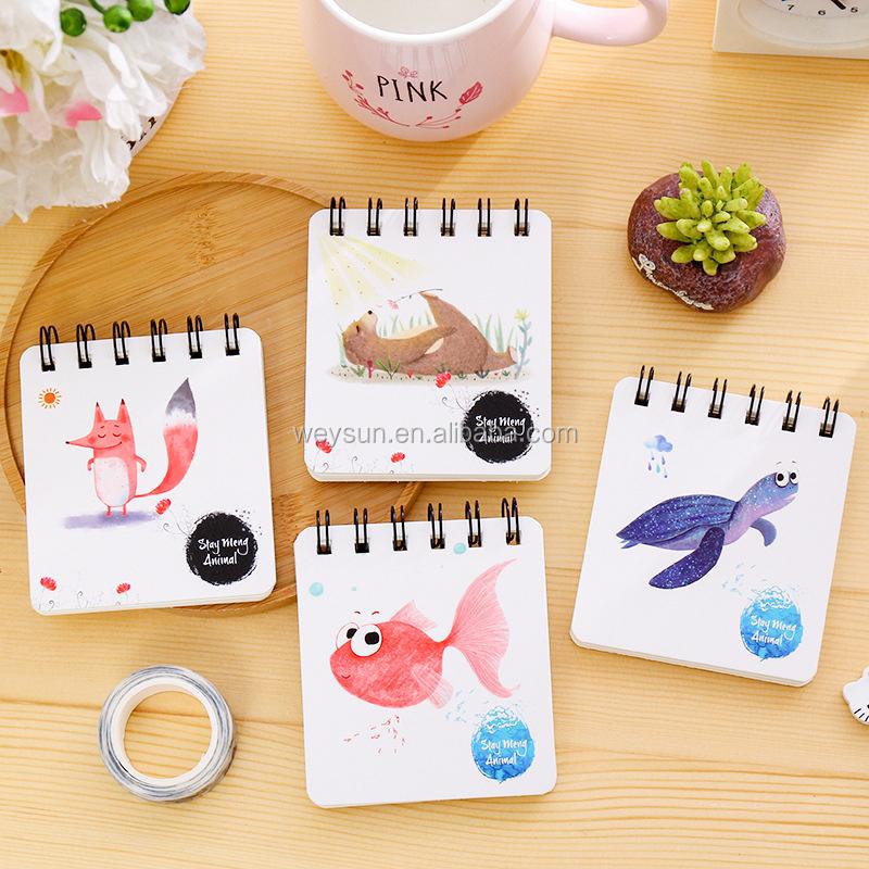 Diy Lucu Kawaii Bunga Coil Notebook Buku Sketsa Kartun Hewan Untuk
