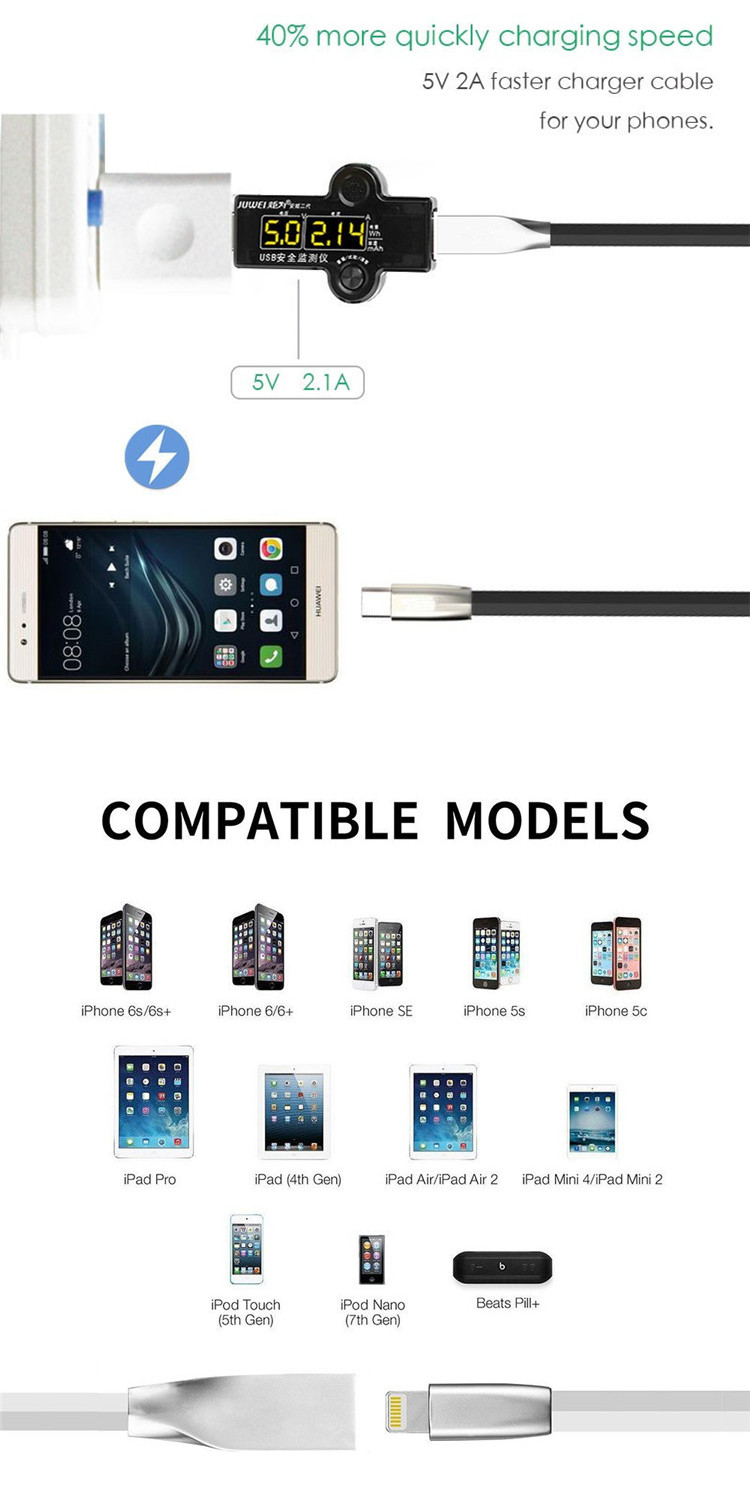 New Zinc Alloy Data Cable for iPhone X 8 7 6 6s plus for Samsung LG Android Fast Charging Cable Micro USB Type C Data Cable