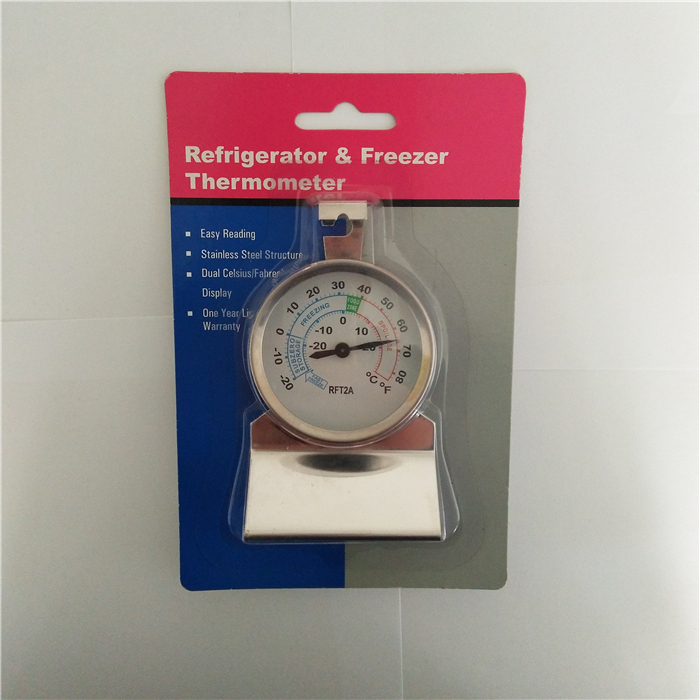 -20~20C/-20~ 80F bimetallic refrigerator freezer thermometer 58mm DIAL monitor thermometer with Sitting and hanging