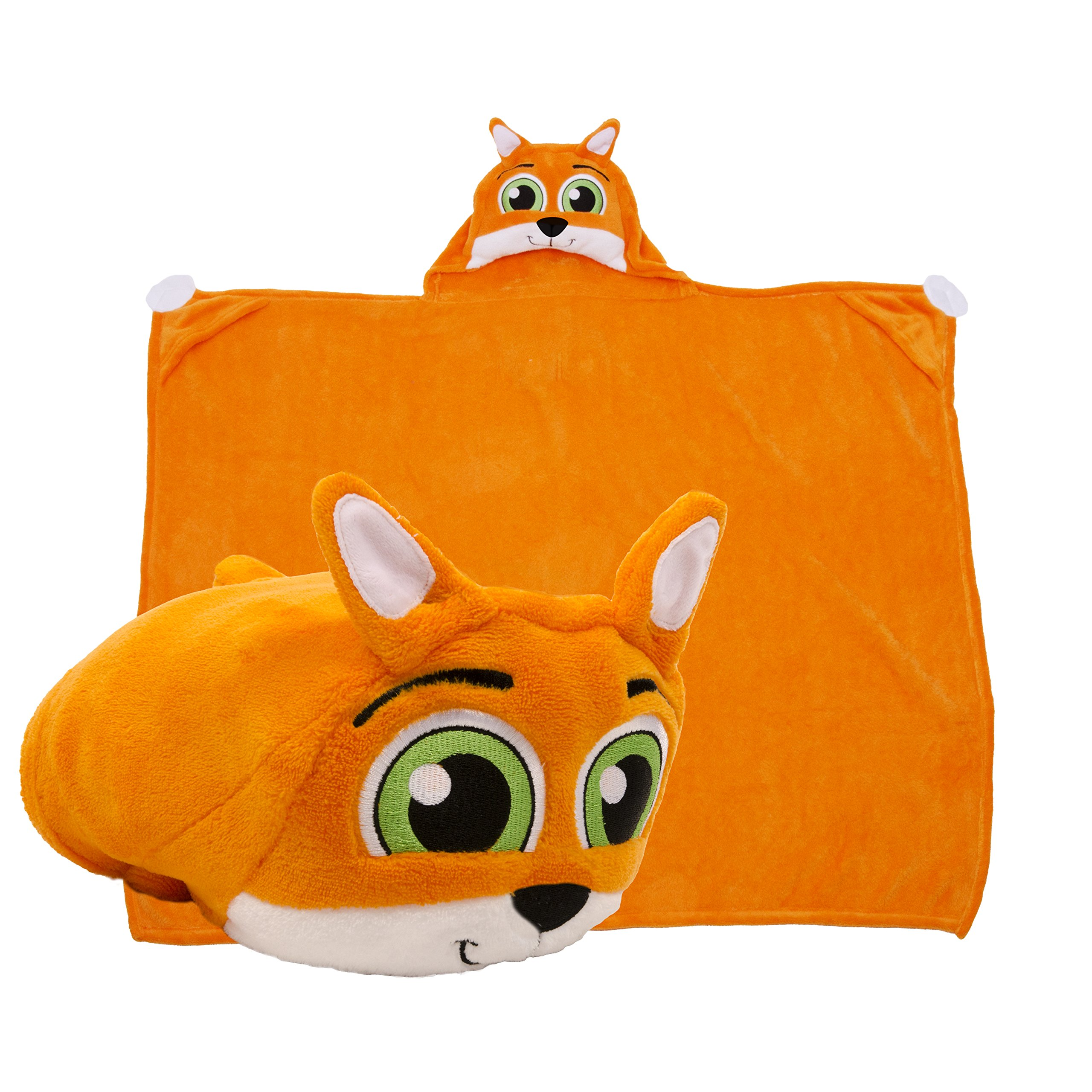 Comfy Critters Stuffed Animal Blanket – Fox – Kids huggable pillow and blanket perfect for pretend play, travel, nap time.