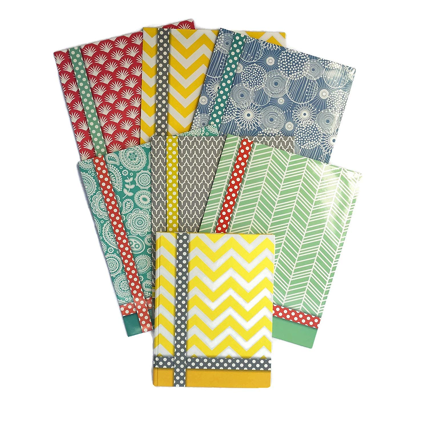 Colorful Pattern Design Belle School Supply Bundle: 7 Items: Seven Assorted Belle School Subject Folders, Plus One Matching Hardcover College Ruled Composition Notebook (Yellow Notebook)