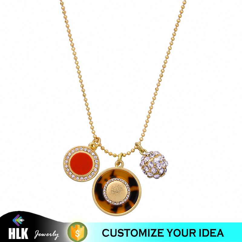Several Pendants Pave Crystal Metal Ball Fashion Jewelry Best Friend Female Leopard 10 to 15 Gram Gold Designs Chain Necklace