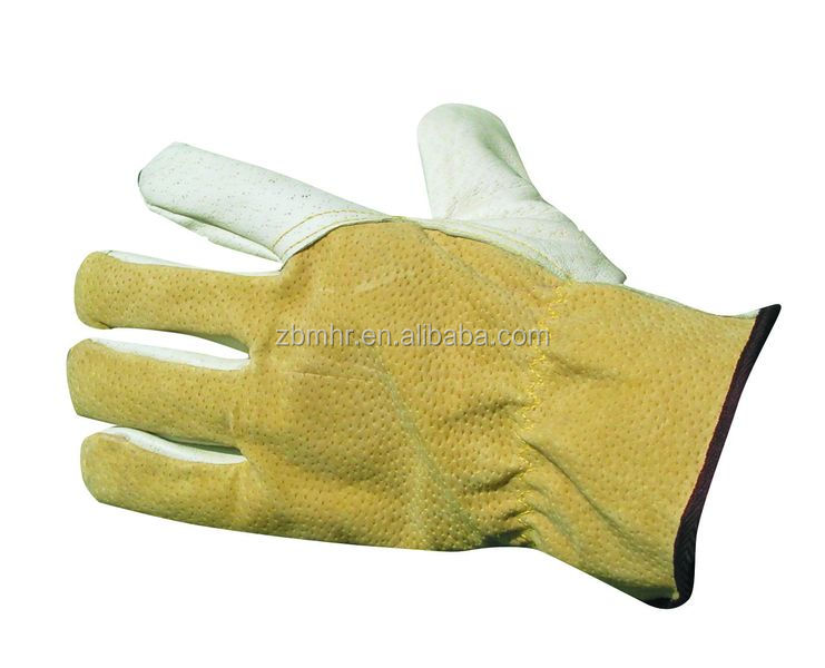 Brand MHR green color cuff Pig split protect leather glove men size