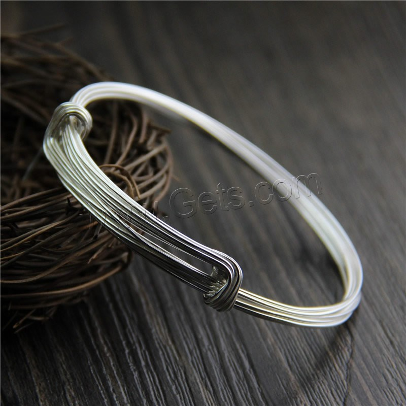 Adjustable Wire Bangle, 925 Sterling Silver, 11mm, Inner Diameter:Approx 50mm, Length:Approx 6 Inch, Sold By PC