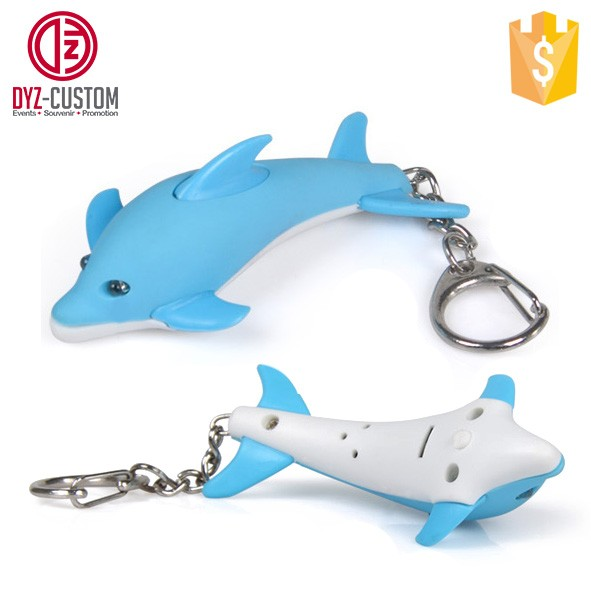 Dolphin shape led keychain with sound  (2).jpg