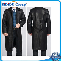 Men's leather trench coat and long sections
