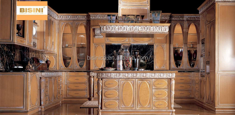 Luxury Solid Wood Carved Kitchen Cabinet With Gold Painting Victorian Style Kitchen Furniture