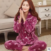 Women Thicken Flannel Pajamas Female Coral Fleece Pajama Sets Sleepwear Velvet Long-Sleeve Casual Nightgown
