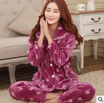 Women Thicken Flannel Pajamas Female Coral Fleece Pajama Sets Sleepwear  Velvet Long-Sleeve Casual Nightgown 08bff674b