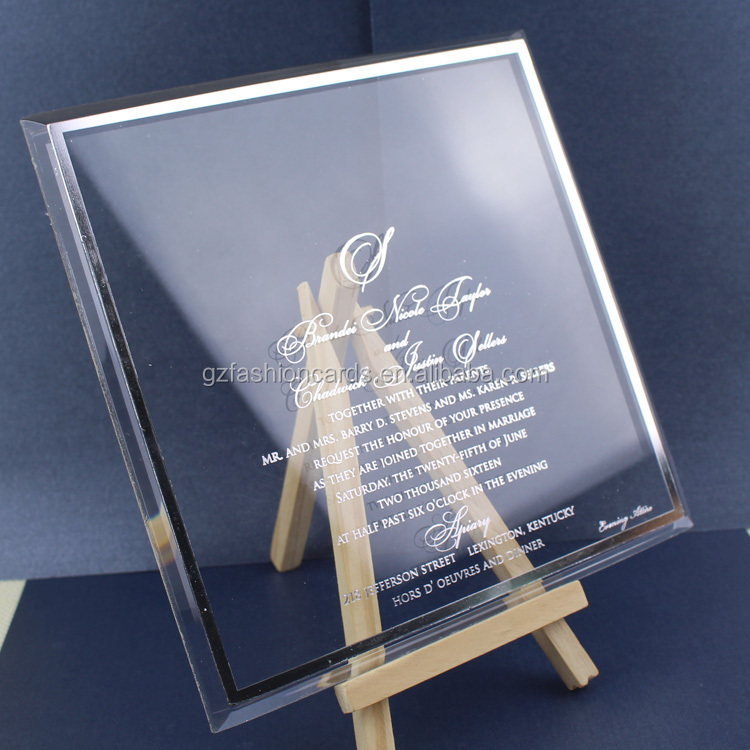 5*7inches 3mm Thickness Custom Printed Transparent Acrylic Wedding Invitation Card for Bridal Shower and Ceremony