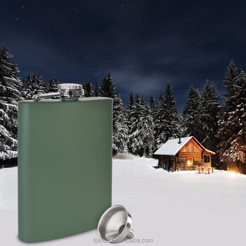 Premium 8 oz Matte Green Flask - 304 (18/8) Stainless Steel - with Free Bonus Funnel