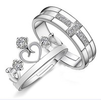 Prince Princess Crown Cross Zircon ring Rhinestone Adjustable Alloy Wedding Couple Rings for lovers Women Men Silver Jewelry