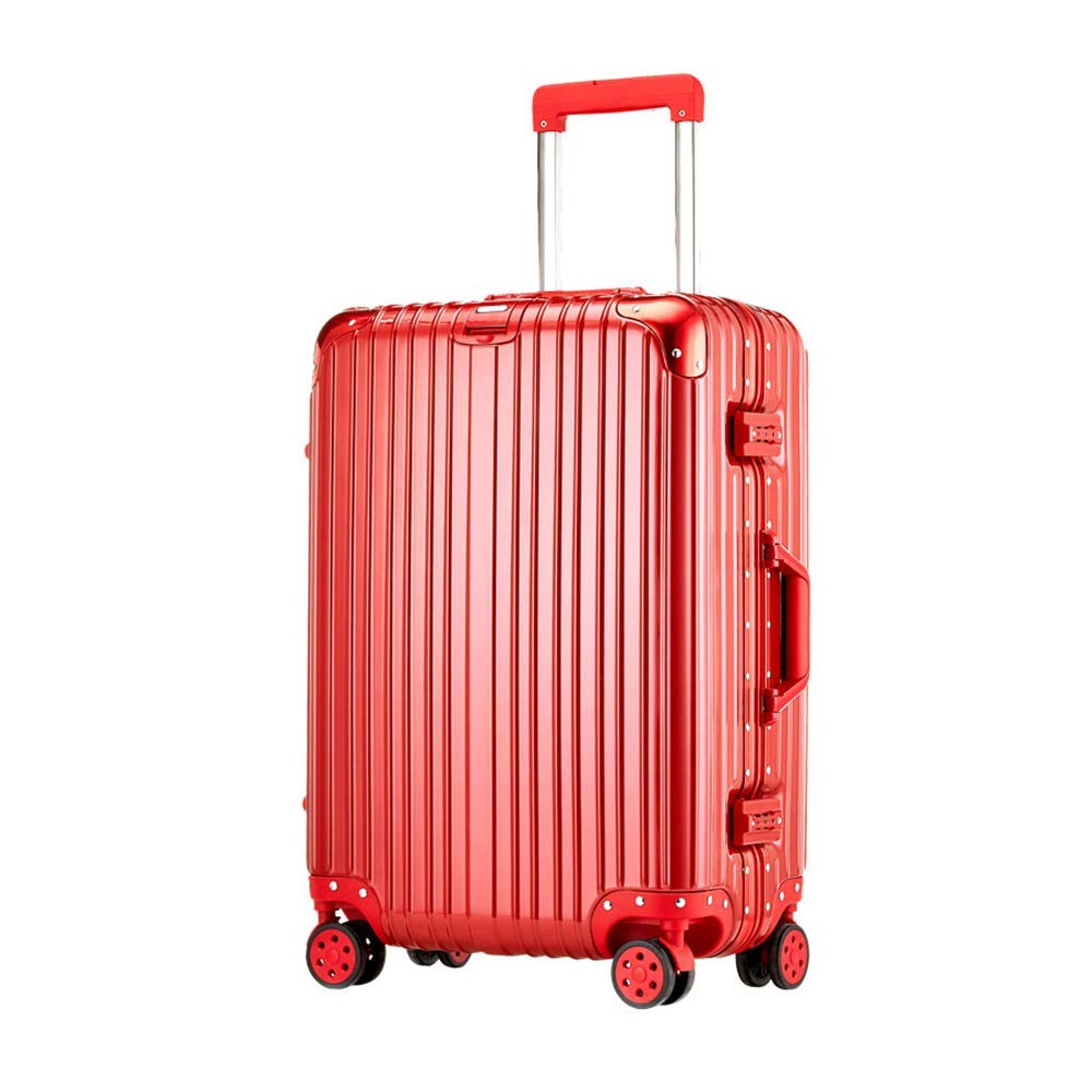 RFJJ Suitcases Carry-ons Trolley Case Hand Luggage Bride Dowry Big Red Password Box Men and Women Marriage Trolley Case,20/22/24/26/28 Inch (Size : 20 inch)