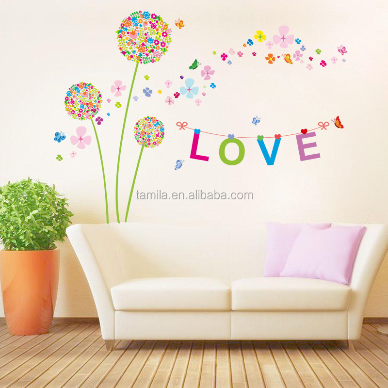 flower wall stickers living room dandelion wall decals 3d pvc removable wall art mural love heart wallpaper home decor