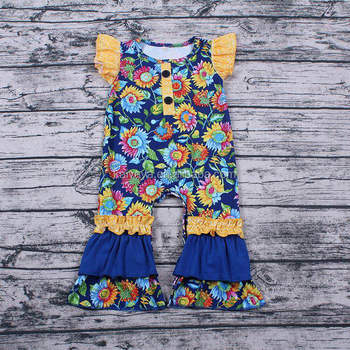 Baby Flutter Sleeve Rompers Ruffle Shoulder Girls Milk Silk Floral Rompers with Snap
