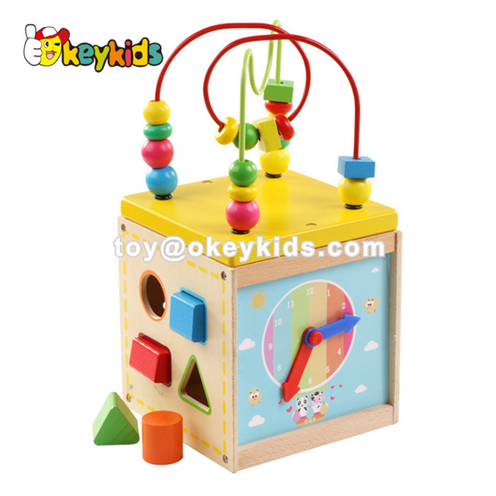 Wholesale funny roller coaster baby wooden activity cube toy with clock and shape sorter W11B177