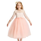 Fancy Long Sleeve Lace Flower Girl Dress Ivory And Pink Party Wedding Dress Kids Clothes Online Lace Embroidery Summer Frock