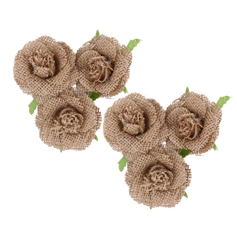Whitelotous 6 pcs Handmade Jute Burlap Flower Handmade Burlap Rose for DIY Craft Vintage Wedding Party Decor