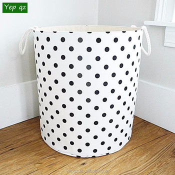 5debada3f2 China manufacturer canvas white color with black dots printing unique  personalized laundry hamper wholesale laundry bag