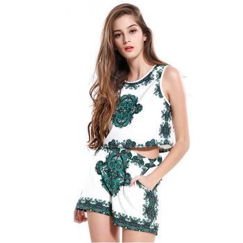 91b8b5ee30 2018 vestido de mujer Sexy ropa Retro Floral impreso pantalones cortos  trajes de primavera floral vestido