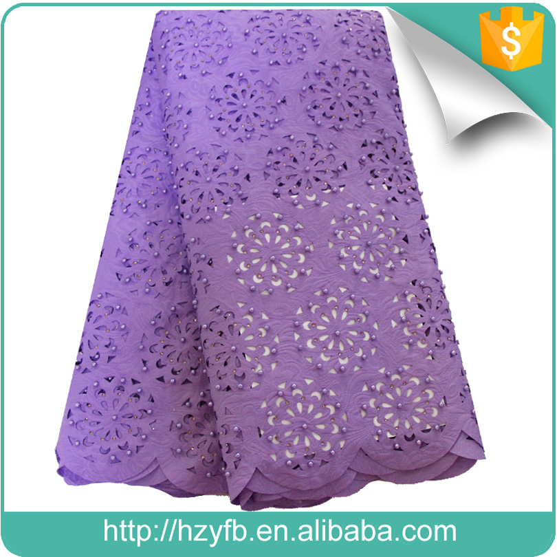 Hot selling wholesale laser cutting embroidery fabrics wedding dress lilac african laser cut lace fabric for Nigerian