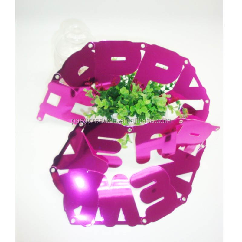 "Paillette Pink ""Happy new year"" banner advertising for new year decoration"