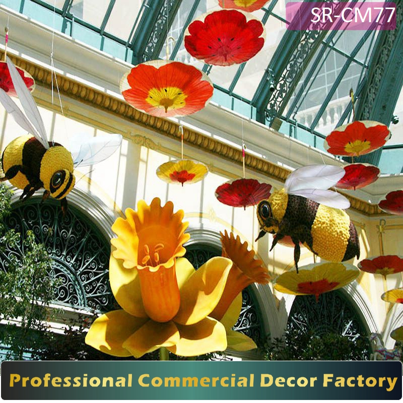 Customize commercial shopping mall holiday decor with umbrella decoration for all seasons