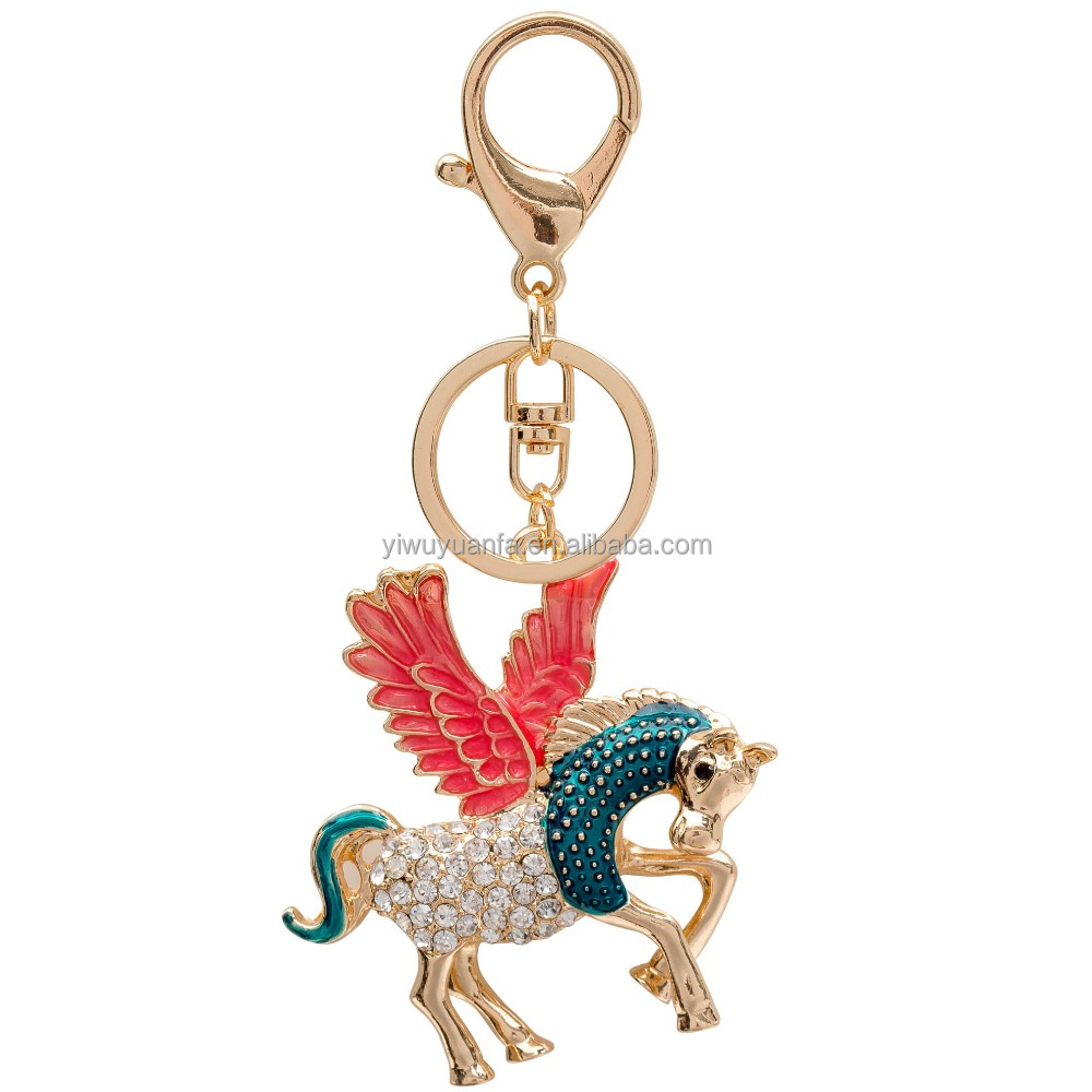 Hot sale Fashion Women Crystal Rhinestone Pegasus Horse Keychain With High Quality Luxury Keyring