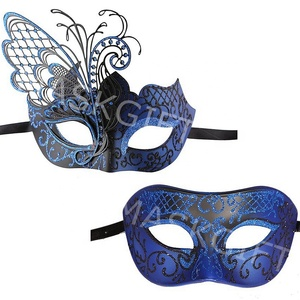 Amazon Hot Sell Design 2 Pack Luxury Venetian Black Blue Metal Butterfly Masquerade Mask For Couples Halloween Costume Party